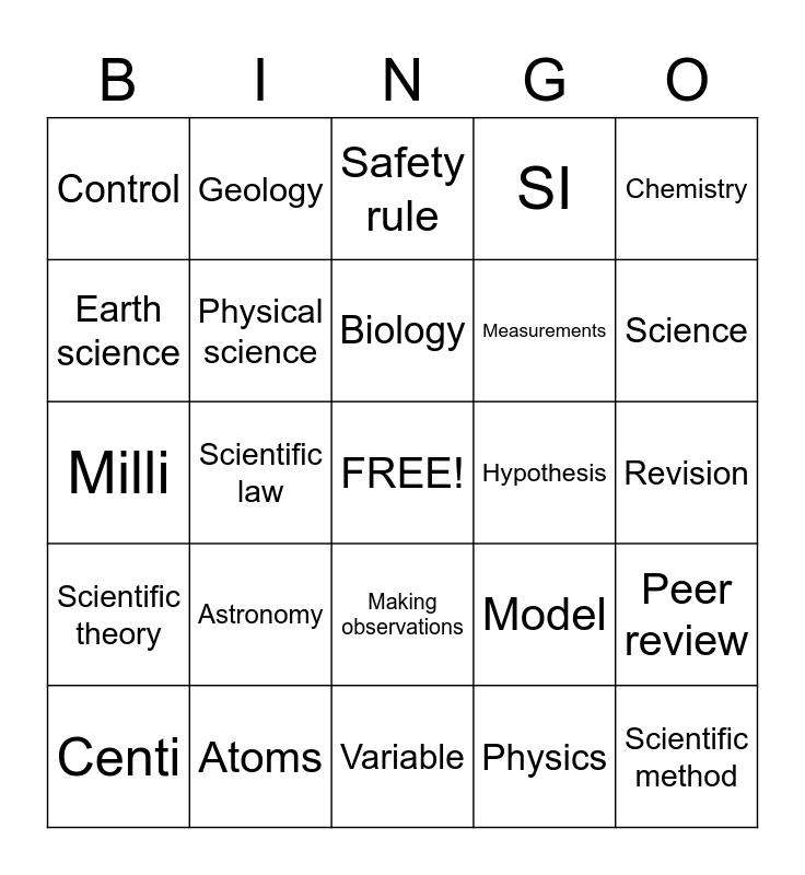 Science Words Bingo Card