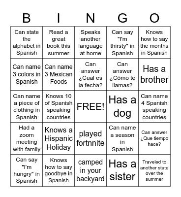 Bienvenidos a la clase de español 2020 Bingo Card