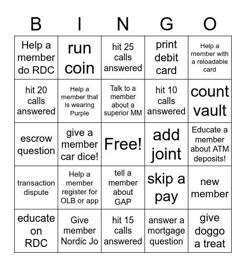 A+ Bingo Card