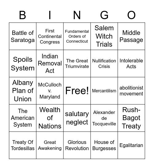 17-18 Century US History Bingo Card