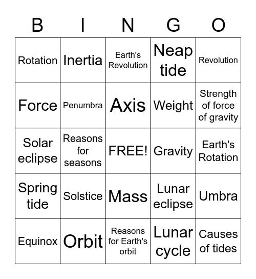 Solar System Bingo Card