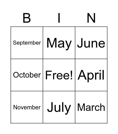 Months Bingo Card