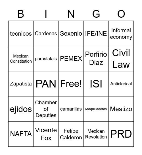 Mexico Bingo Card