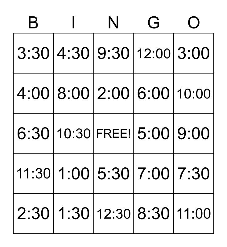 Telling Time Bingo Card