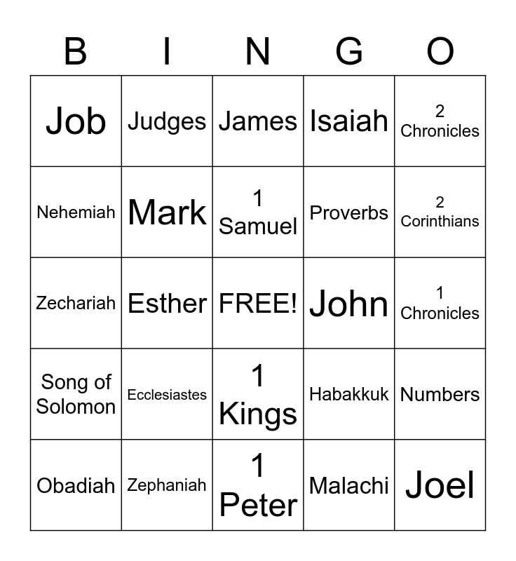 Books of the Bible BINGO Card