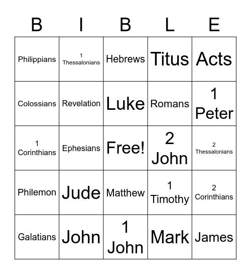 New Testament Bible Bingo Card