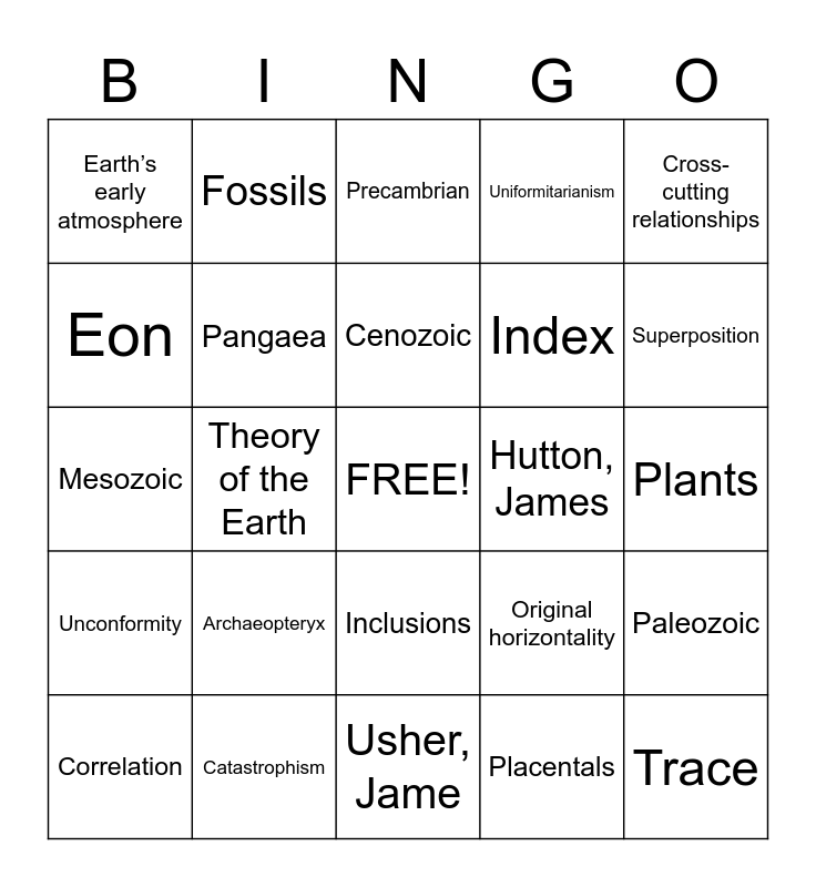 Geologic Bingo Card