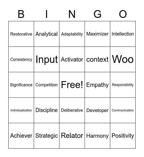 Strengths Bingo Card
