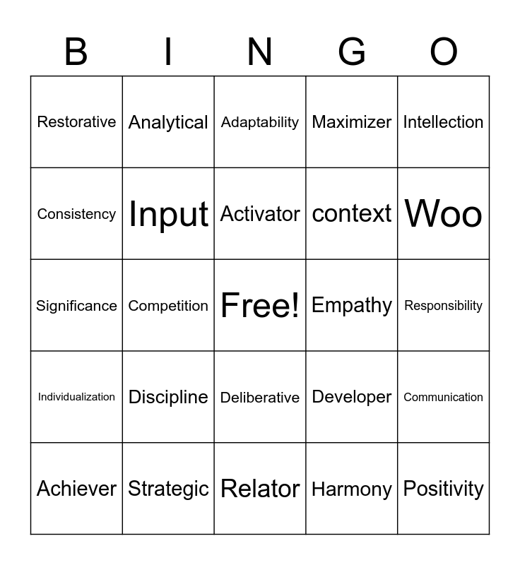 Strengths Bingo Card