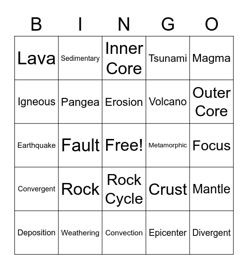 Geology Bingo Card