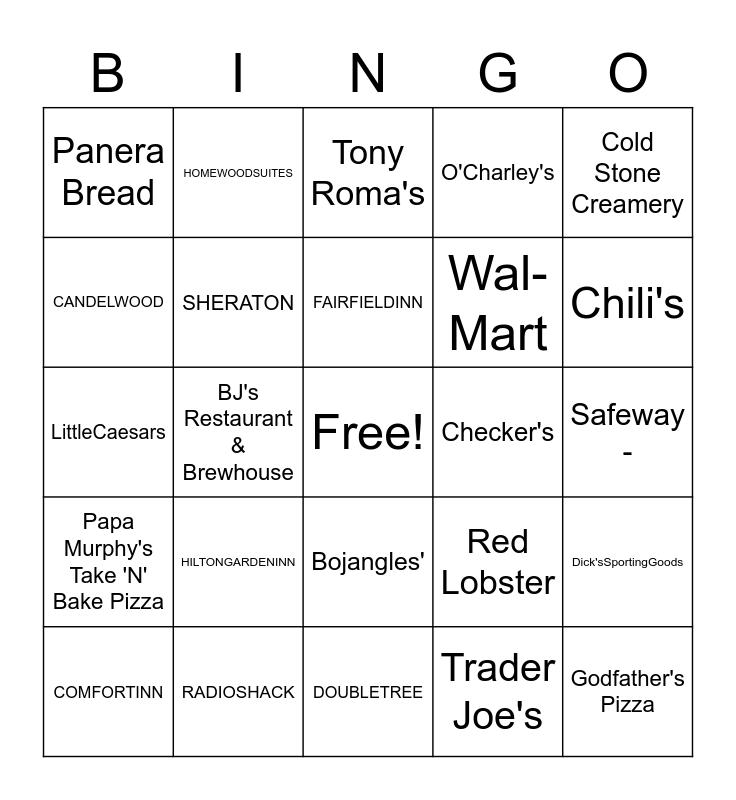 Popular Places Bingo Card