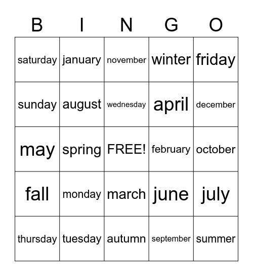 Calendar Words Bingo Card