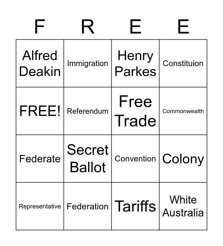 Australian History Bingo Card