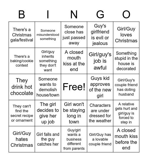 Hallmark Xmas Movie Bingo Card