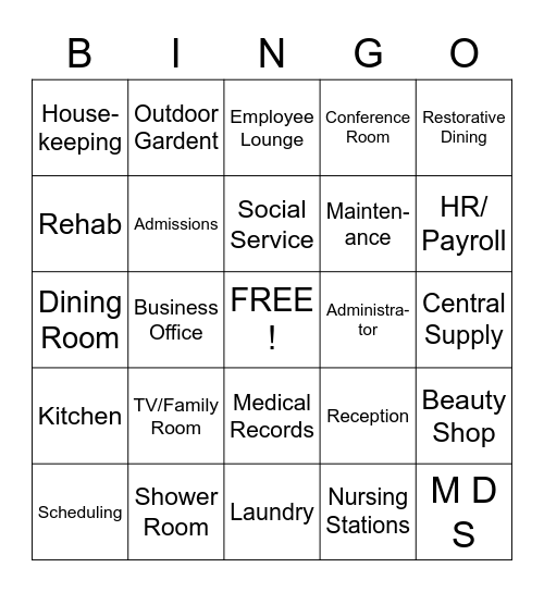 FACILITY  BINGO   Bingo Card
