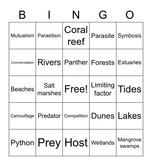 Ecology Bingo Card