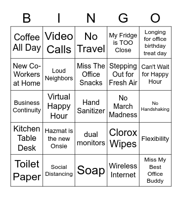 Work From Home Bingo! Bingo Card