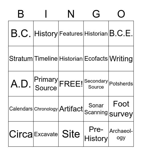 6th Grade Archaeology Study Guide Bingo Card