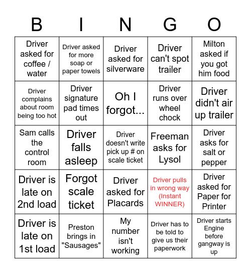 Driver Bingo Card