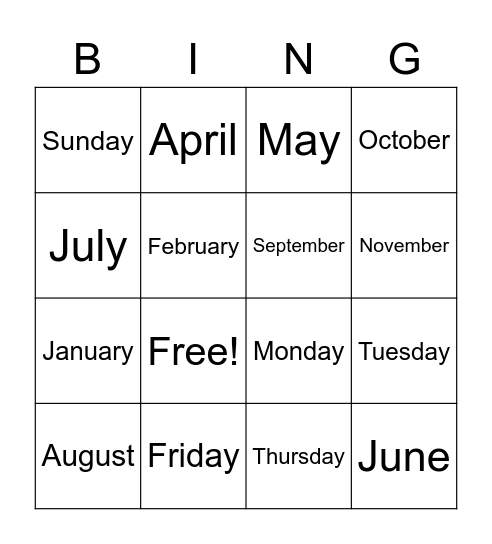 Days and Months Bingo Card