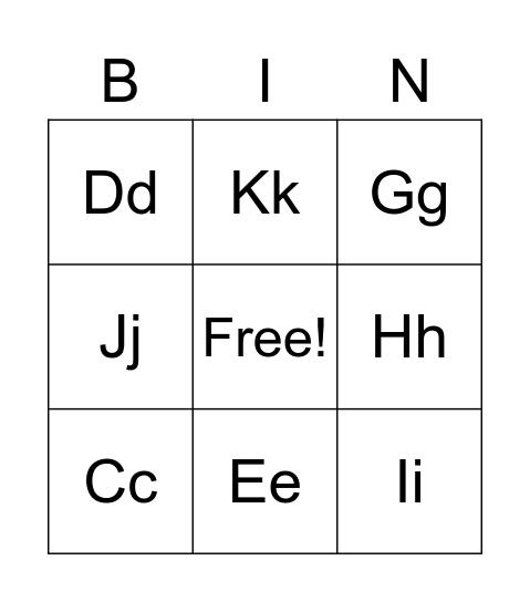 Alphabet Bingo  Bingo Card