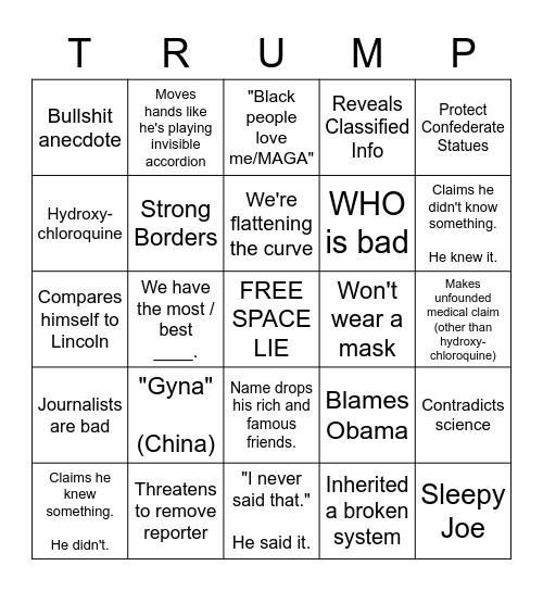 Trump 2020 Bingo Card