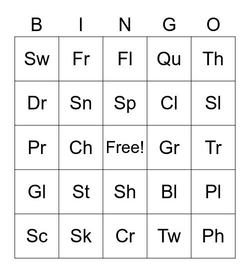 Blends and Digraphs Bingo! Bingo Card