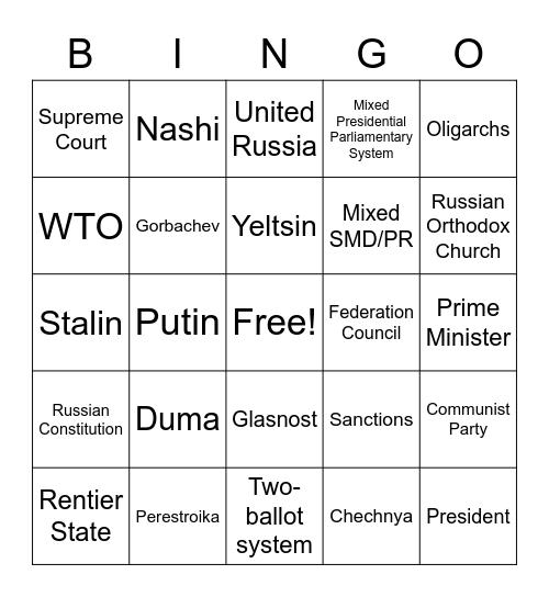 Russia Bingo Card