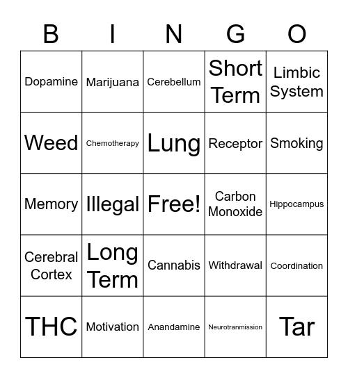 Be Drug Free Bingo Card
