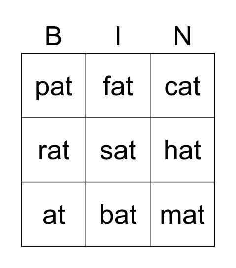 """""""AT"""" WORDS, -at word Bingo, COLTS  Bingo Card"""