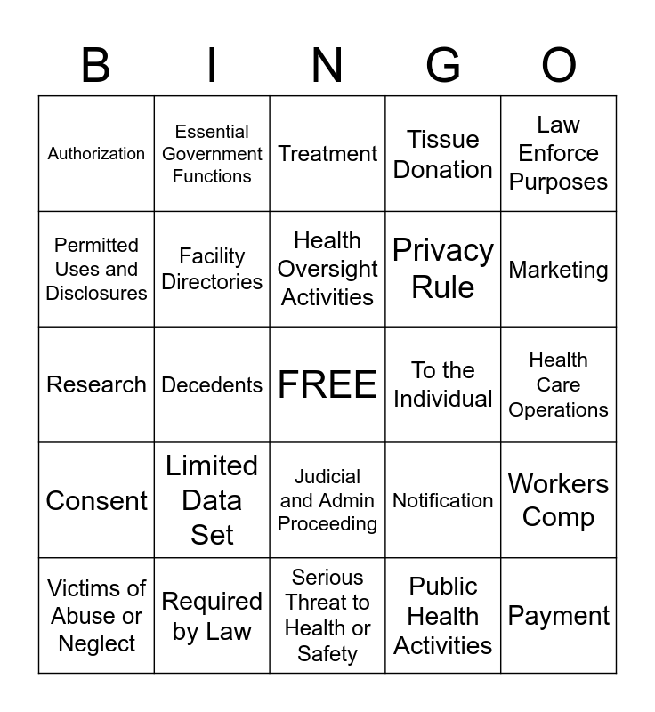 Permitted and Authorized Uses and Disclosures Bingo Card