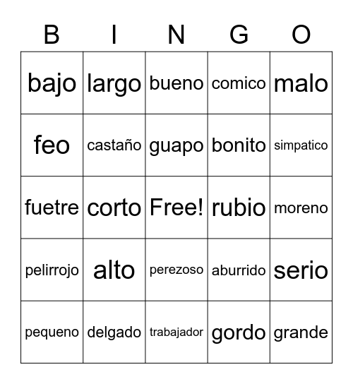 Spanish Opposites Bingo Card