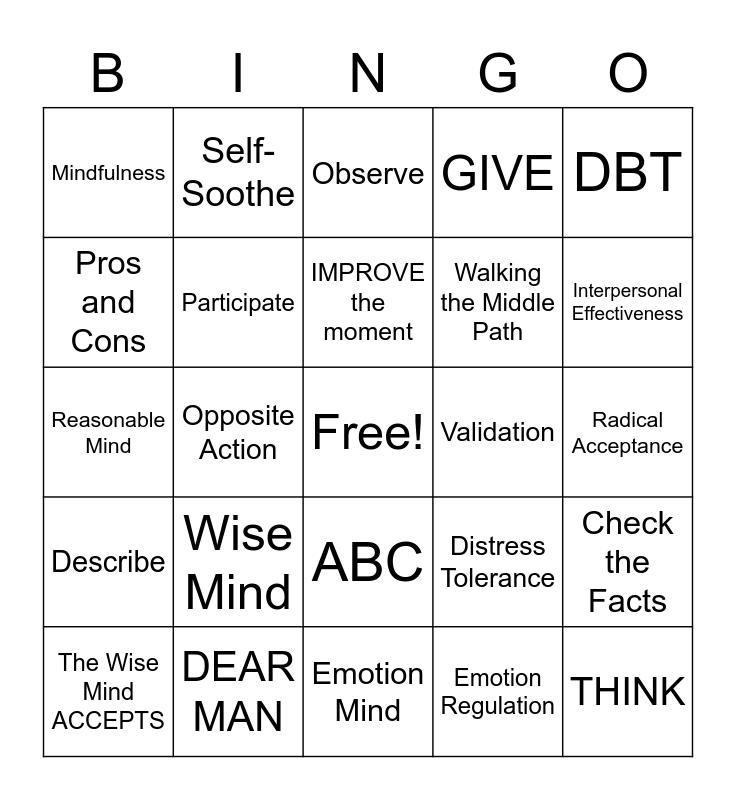 DBT Skills Bingo! Bingo Card