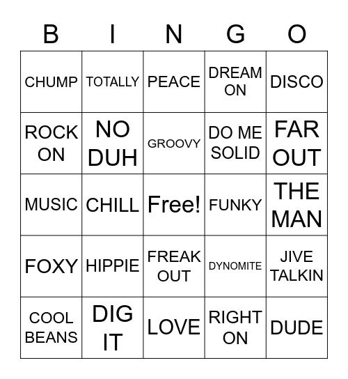 Boogie Bingo, BOOGIE BINGO  Bingo Card