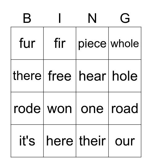 Bingo Homaphons Bingo Card