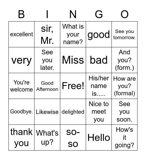 Greetings Bingo Card