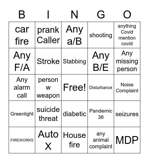 4th of July Bingo 911 Bingo Card
