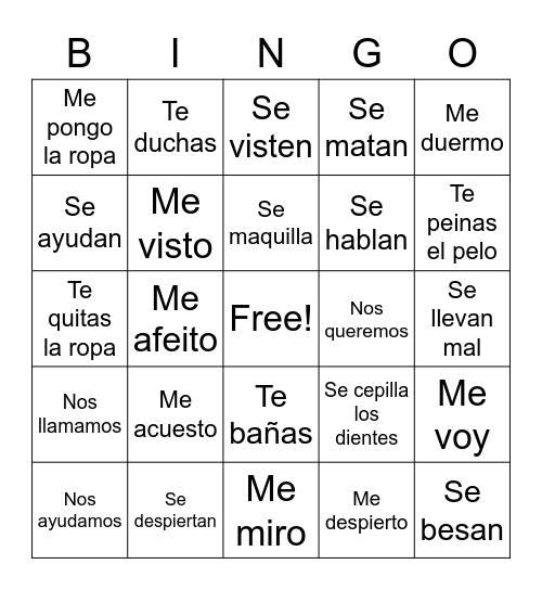 Spanish Phrases Bingo Card