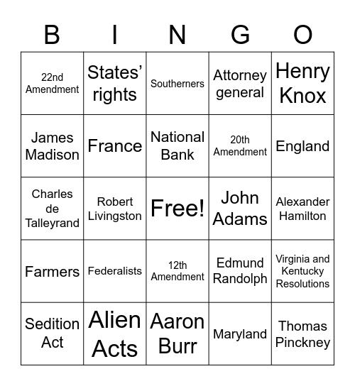 US Politics Bingo Card