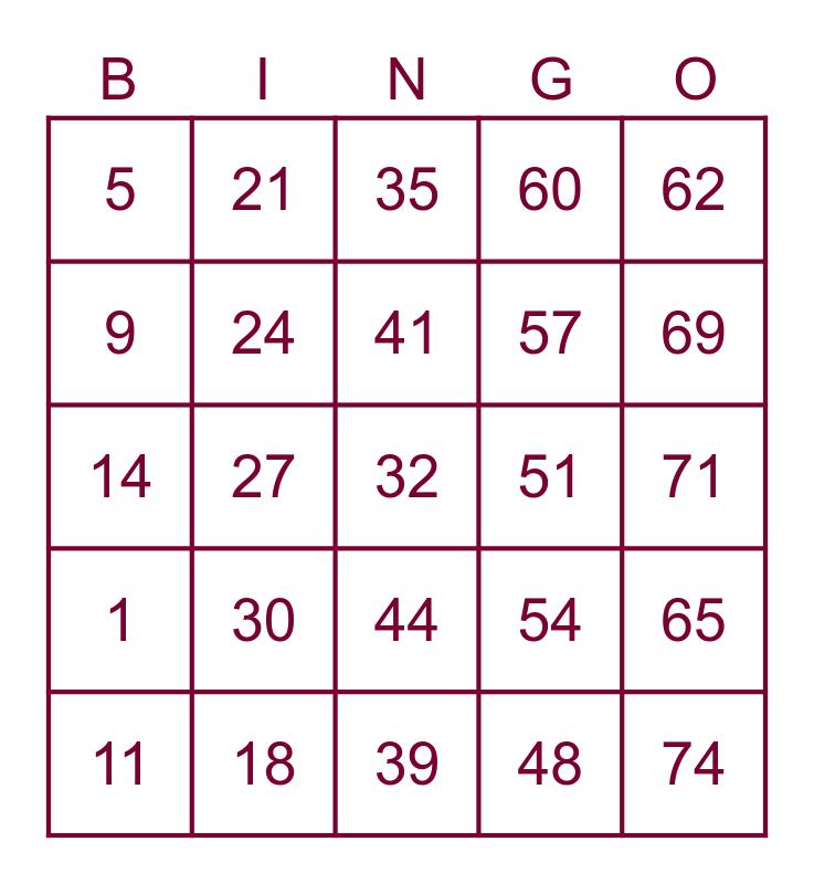 Feeling 'Center'ed - Bingo! Bingo Card
