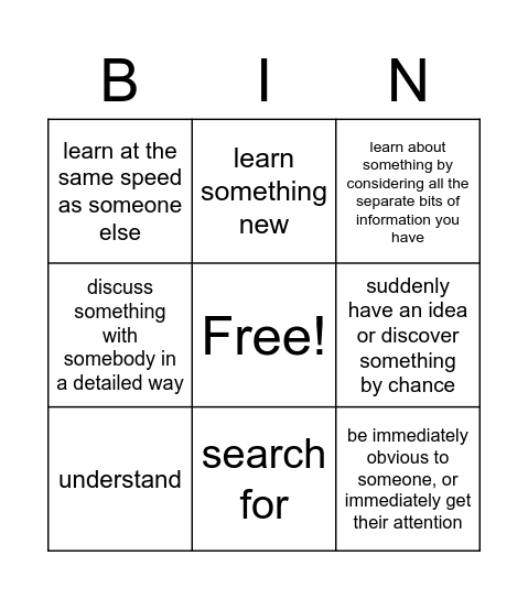 Think Bingo Card