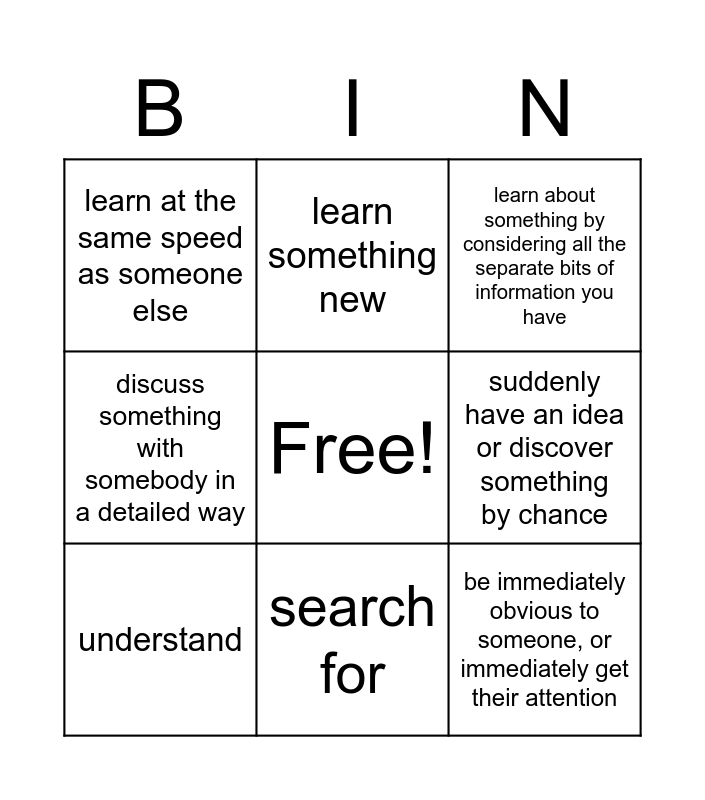 Think Bingo Card