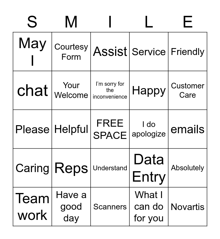 Customer Service Bingo Card