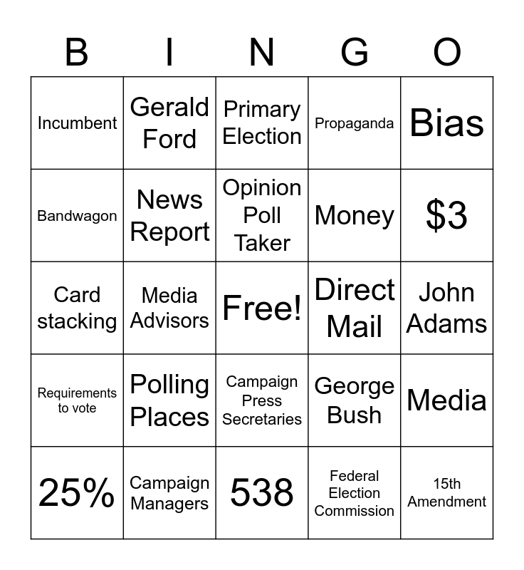 US Politics Bingo Card