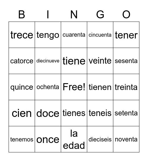 Spanish Age Bingo Card