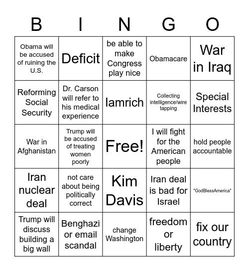 Republican Debate 9/16 Bingo Card