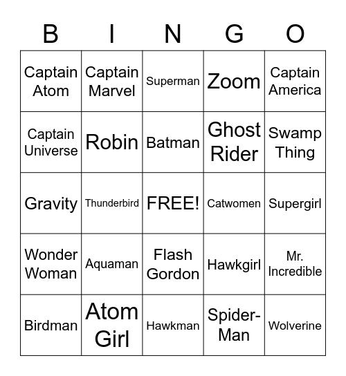 Super Heros Bingo Card