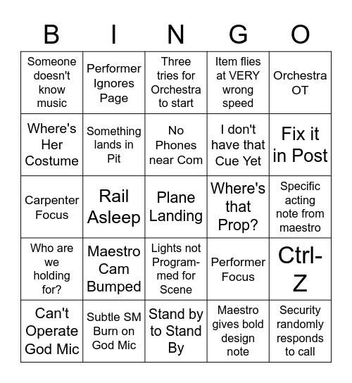 Opera Bingo Card