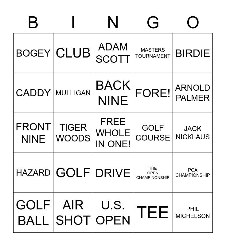 NATIONAL GOLF DAY Bingo Card