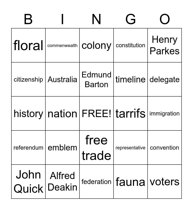 Australia History Bingo Card